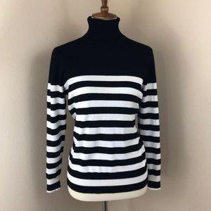 Joseph A Black & White Striped Sweater, Large